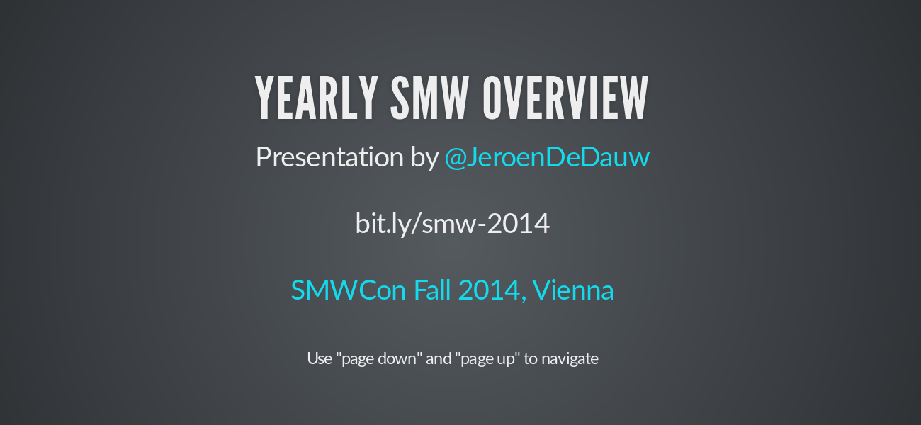 Yearly SMW overview 2014 - slide preview